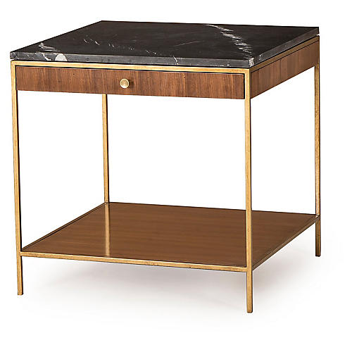Copeland Side Table, Walnut/Brass