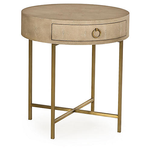 Delphine Round Side Table, Beige