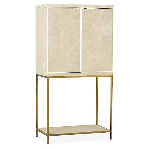 Melissa Bar Cabinet, Ivory/Brass