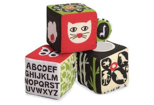Tickly Toy Zebra Soft Block Set