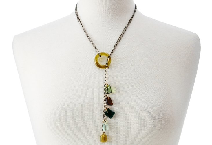 Gem Lariat w/Glass Ring Necklace