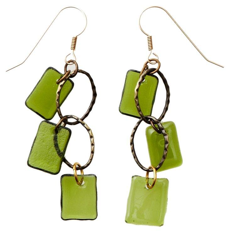 Pine Brass Chandelier Earrings