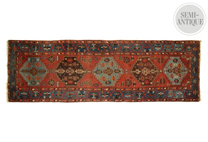 "3'6""x10'6"" Sarab Kilim, Red/Blue"