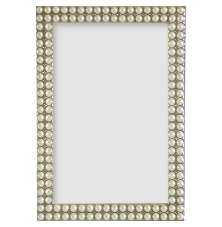 More Pearls Frame, 4x6, White