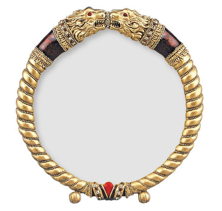 3x3 Lion Heads Frame, Gold