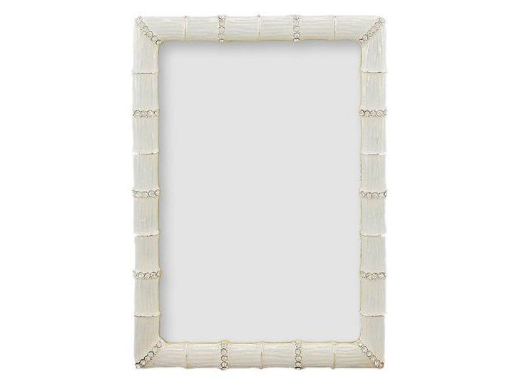 Bamboo Jeweled Frame, 4x6, White