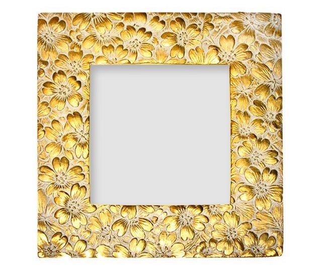 Flower Petals Frame, 4x4, Gold