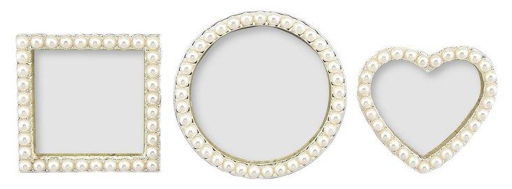 S/3 Pearls Frames, 2x2, White