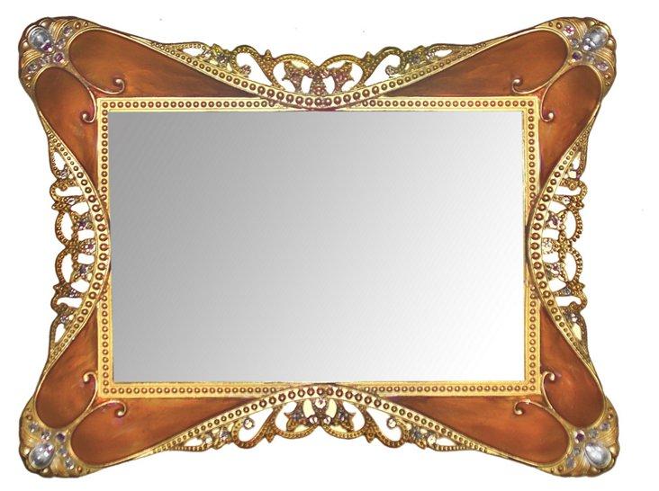 6x4 Rococo Mirror Tray, Tortoise