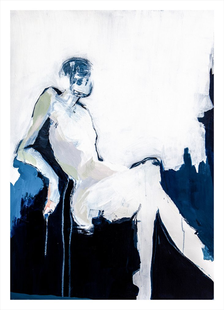 Jane Feil, 18x25 Woman Lounging in Blue