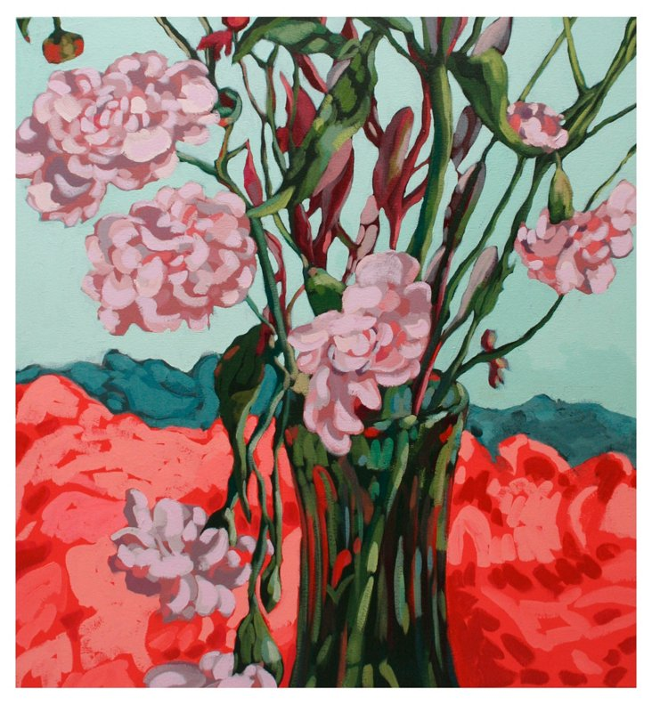 Erin McIntosh, April Flowers Green Vase
