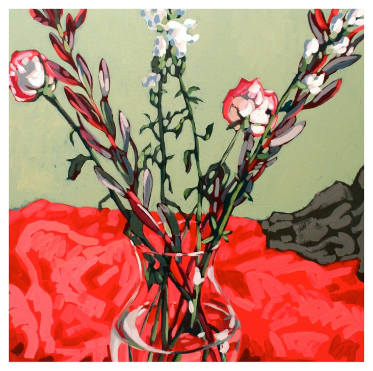 Erin McIntosh-April Flowers Roses on Red
