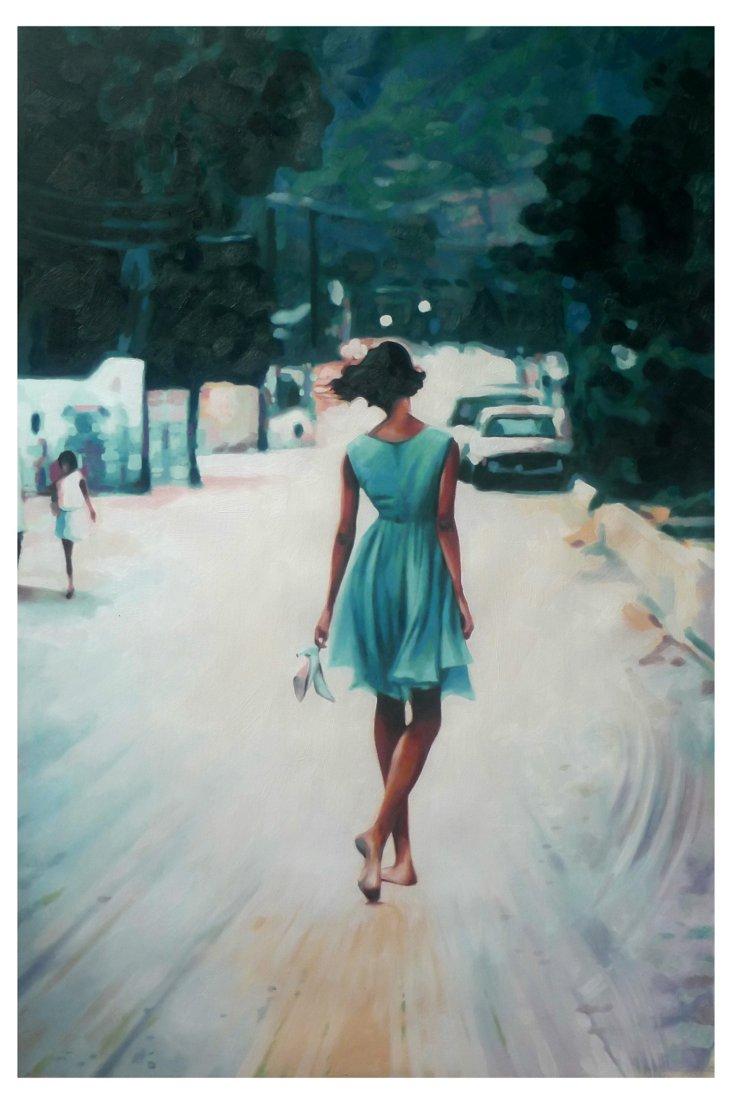 Thom Saliot, Bared Feet Blue Dress