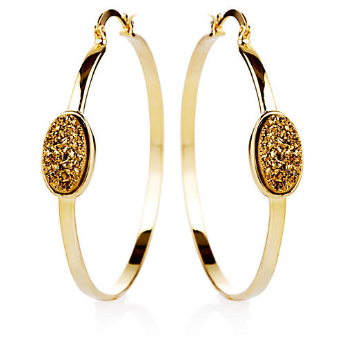 22-Kt Oval Druzy Pendant Hoop Earrings, Gold