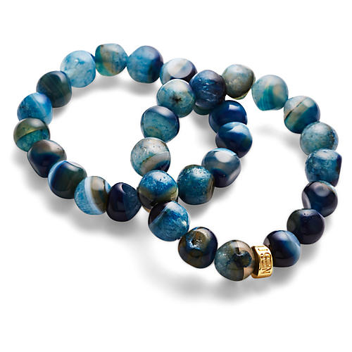Teal Agate Stretch Bracelets