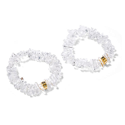 Crystal Quartz Stretch Bracelets, White