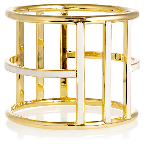 Enameled Gold Bangle Bracelet