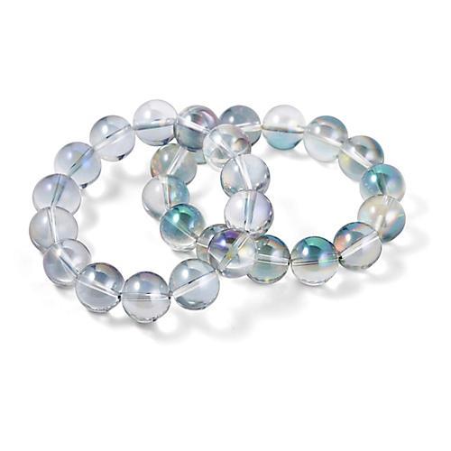 S/2 Iridescent Quartz Stretch Bracelets