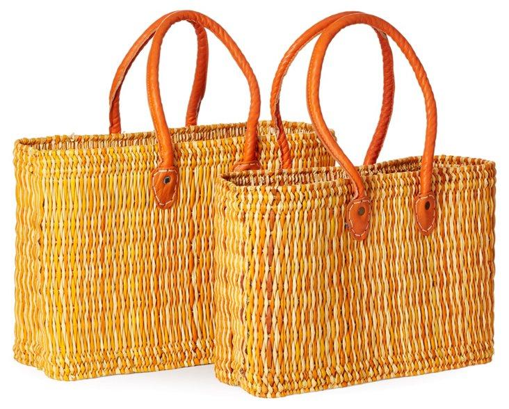 S/2 Leather Trim Tote Baskets, Orange