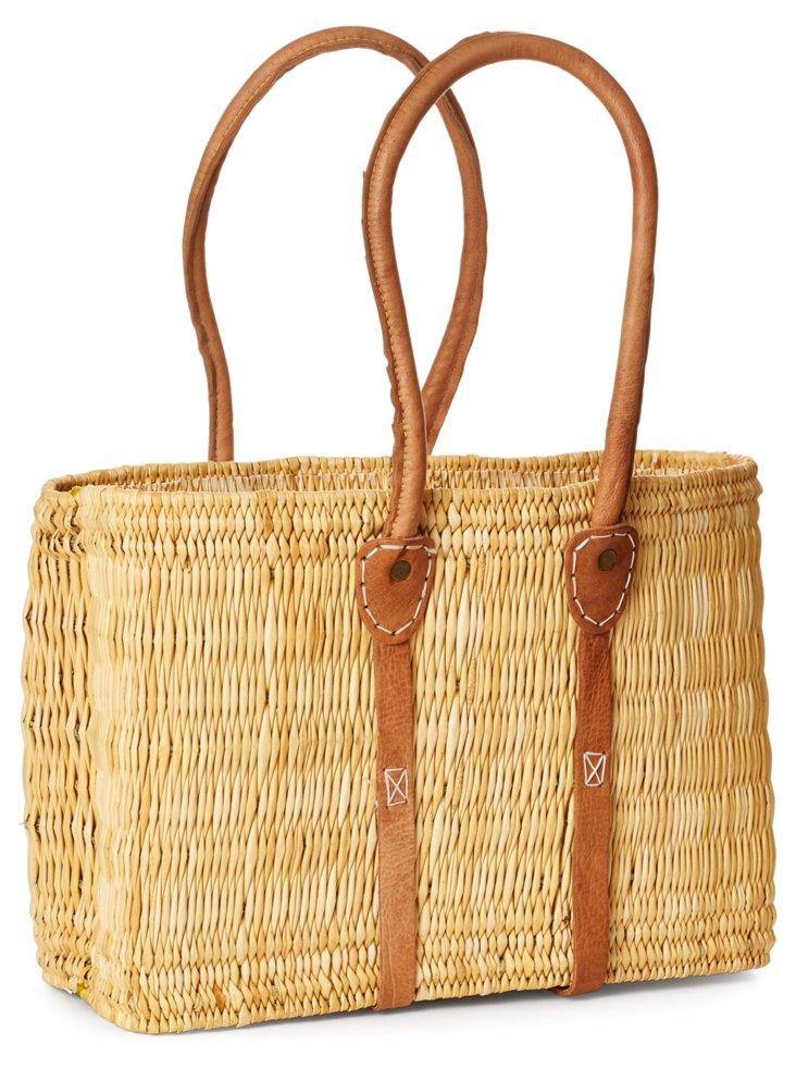 Medium Leather Trim Tote Basket, Tan