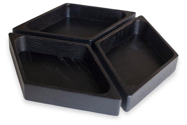 Ebonized Ash Axo Bowls, Set of 3