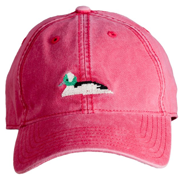 Bufflehead Duck Needlepoint Hat, Red