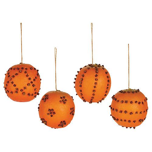 Asst. of 4 Clove Orange Faux Ornaments, Orange