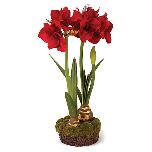 "29"" Double Amaryllis Arrangement, Faux"