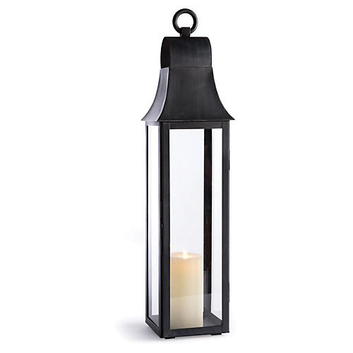 "33"" Geneva Tall Outdoor Lantern, Washed Black"