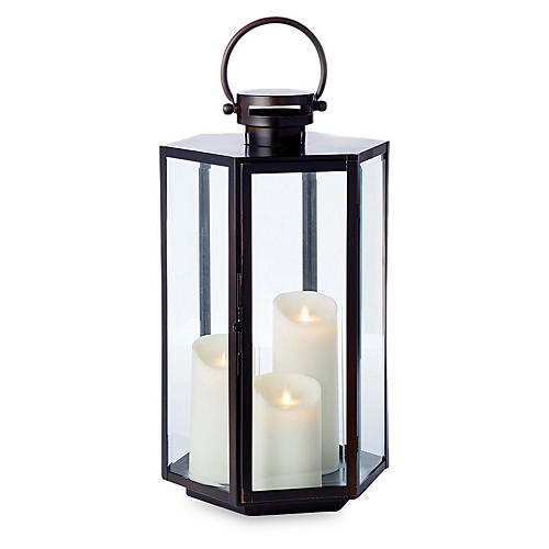 "21"" Point Reyes Outdoor Lantern, Washed Bronze"