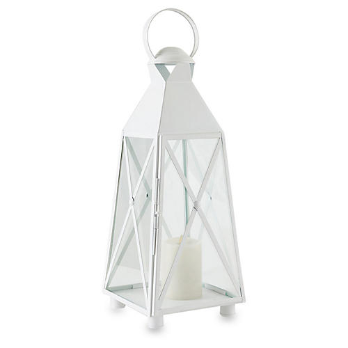 "26"" Newport Outdoor Lantern, White"