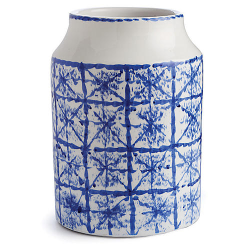 "15"" Rhythmic Urn, Blue/White"