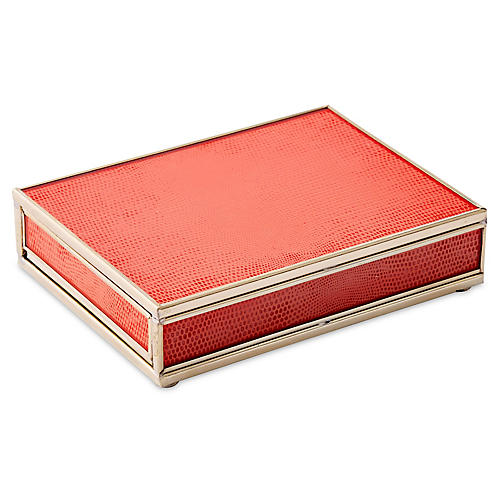 "6"" Lizard Playing Card Box, Orange/Nickel"