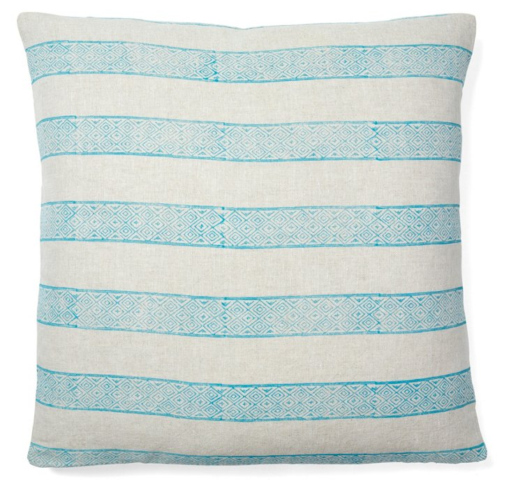 Wabi 20x20 Linen Pillow, Turquoise