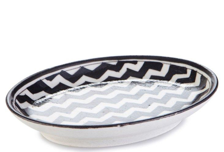 Chevron Oval Dish, Black/White