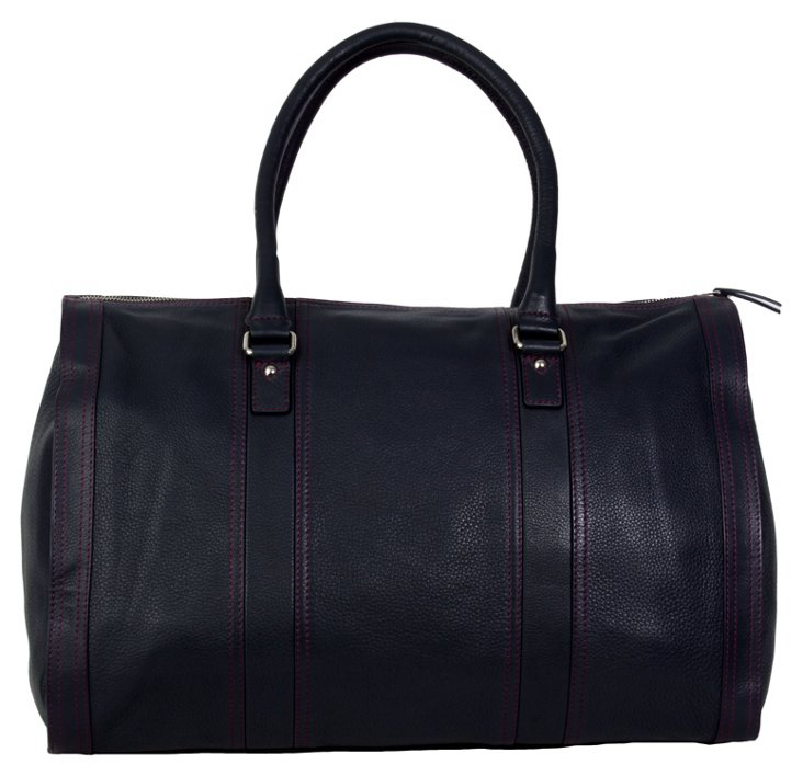 Leather Duffel, Navy
