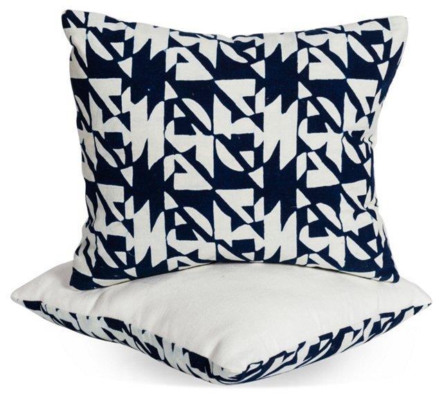 Vintage Batik Pillows, Pair