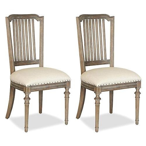 Linen Side Chair, Pair