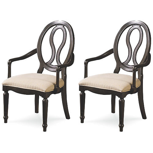Corrine Pierced Back Armchairs, Pair