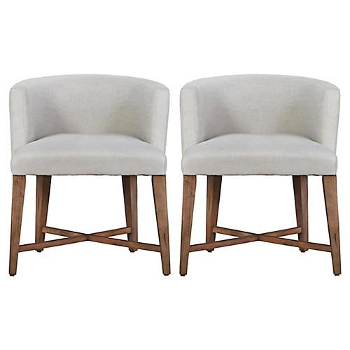 Alina Slipcovered Barrel Chairs, Pair