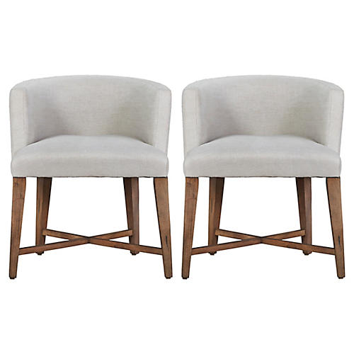 Alina Slipcovered Barrel Chairs, Pair
