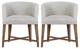Alina Slipcovered Barrel Chairs Pair - Arm Chairs - Dining Chairs - Dining Room - Furniture | One Kings Lane  sc 1 st  One Kings Lane & Alina Slipcovered Barrel Chairs Pair - Arm Chairs - Dining Chairs ...