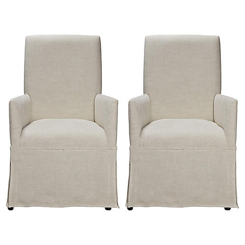 Kinley Silpcovered Armchairs, Pair