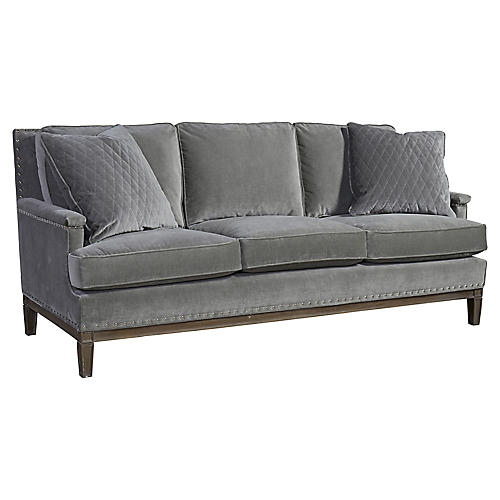"""Isabel 98"""" Sofa, Gray Velvet"""