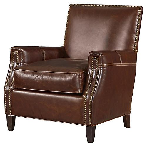 Finley Club Chair, Espresso Leather