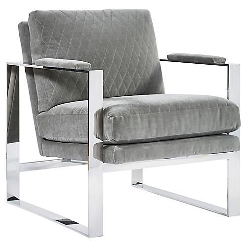Corbin Accent Chair, Gray Velvet
