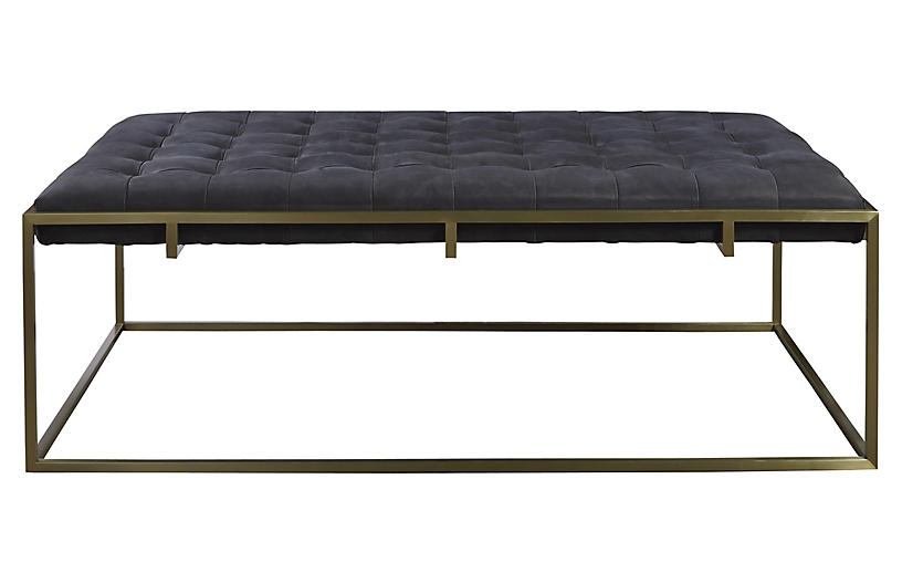 Travers Tufted Cocktail Ottoman, Black Leather
