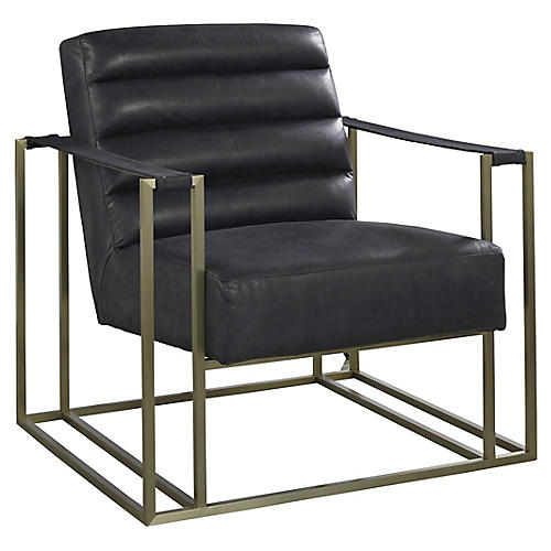 Jensen Accent Chair, Black Leather
