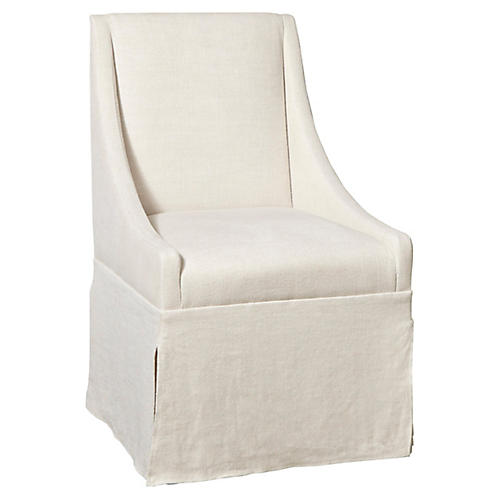 Towsend Skirted Armchair, Ivory Crypton
