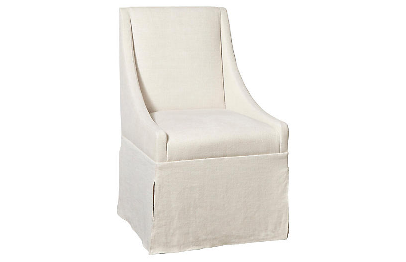 Towsend Skirted Armchair, Ivory Linen